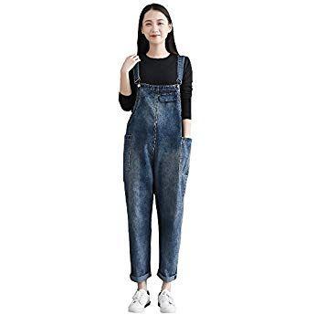 8c03707edb7 yiboolai Women s Summer Adjustable Shoulder Strap Bib Overall Baggy Denim  Suspender Pants Jeans Jumpsuits with Pockets