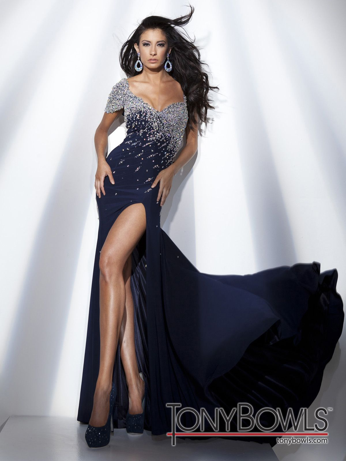 Jersey aline gown with single jeweled short sleeve and single