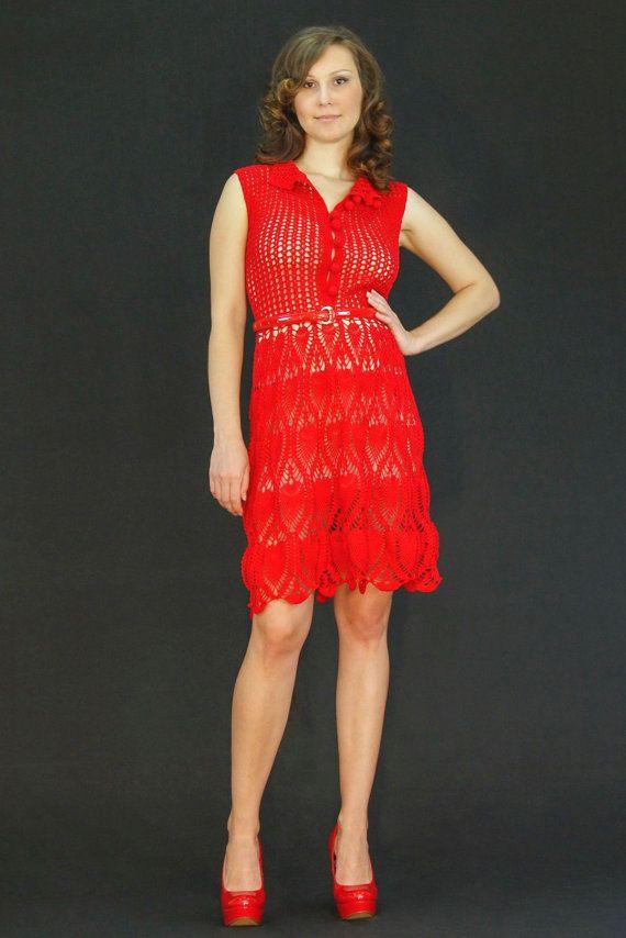 Red exclusive crochet dress  fantasy spring  by LecrochetArt