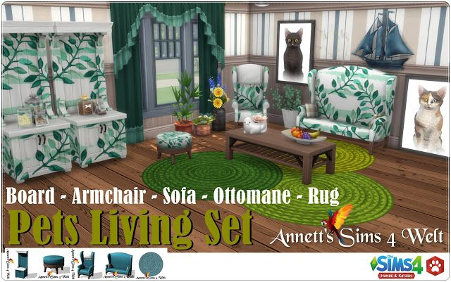 Sims 4 CC's The Best Pets Living Set Recolors by