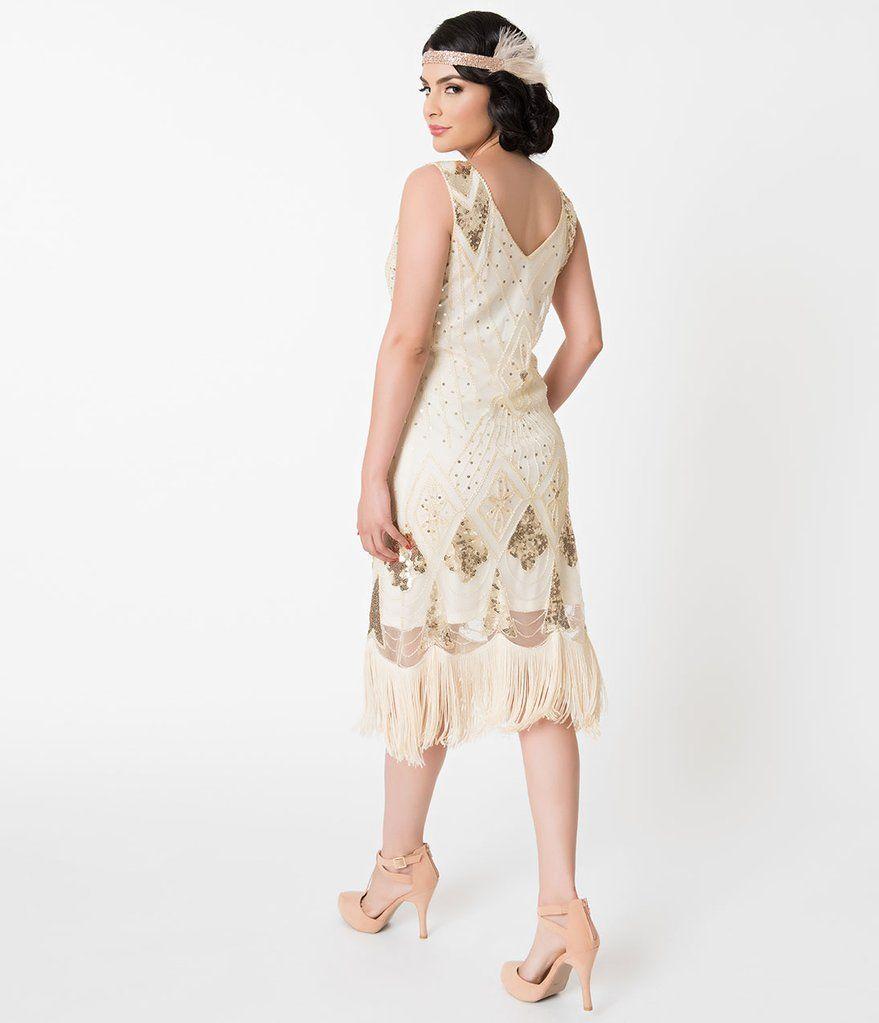 Ivory gold sequin lina fringe flapper dress unique