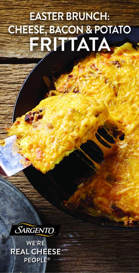 Cheese Bacon Potato Frittata Recipe Recipes Breakfast Recipes Bacon Potato