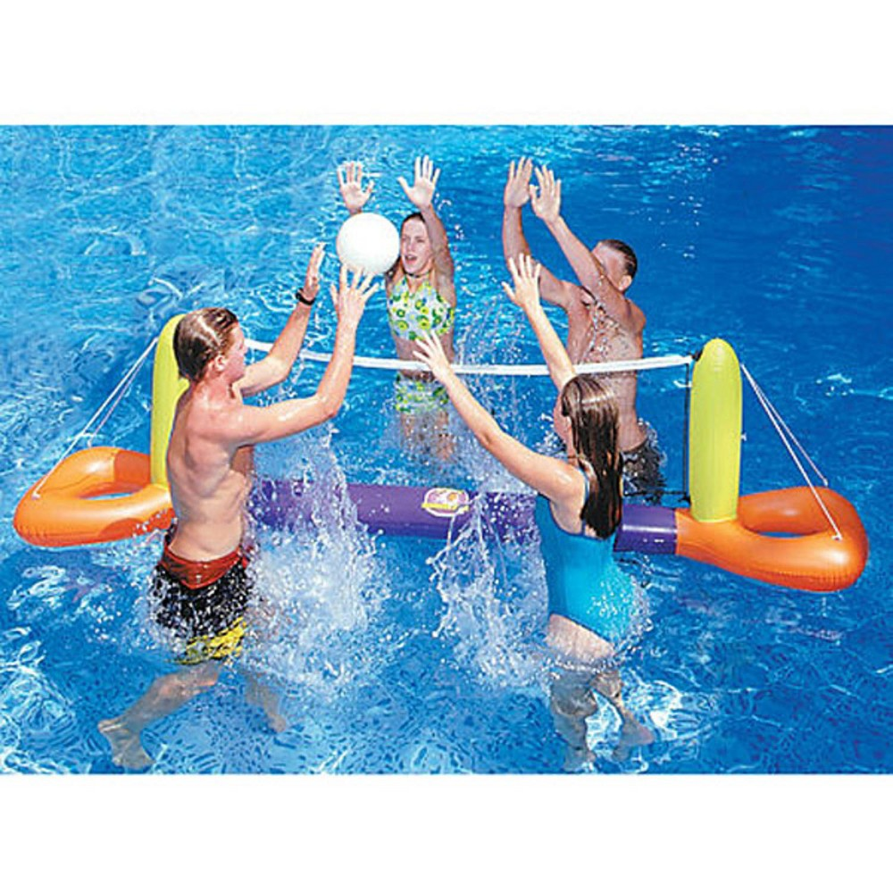 Swimline 11 5 Inflatable Floating Splash Volleyball Game For The Swimming Pool Orange Yellow Splash Swimming Pool Family Pool Pool