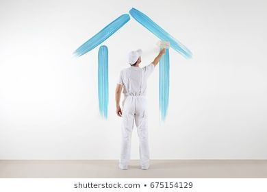 home service concept painter man with brush drawing a