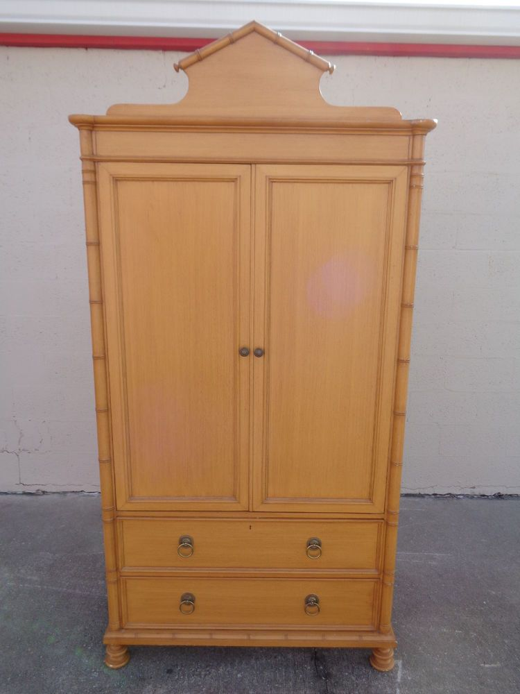 Delicieux Vintage BAKER Furniture Faux Bamboo 4 Drawer Armoire Wardrobe TV Cabinet  Closet | EBay