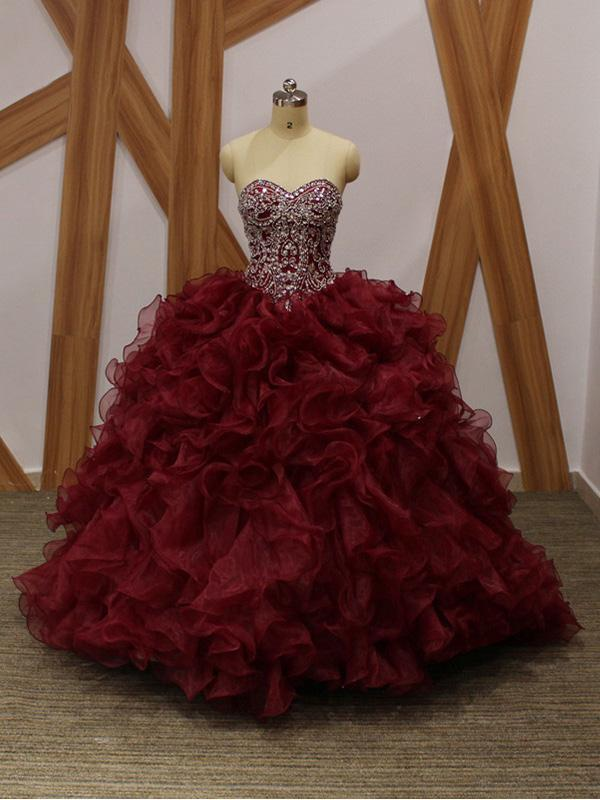 cdb0a5c369a Dark Red Ball Gown Beaded Organza Long Evening Prom Dresses