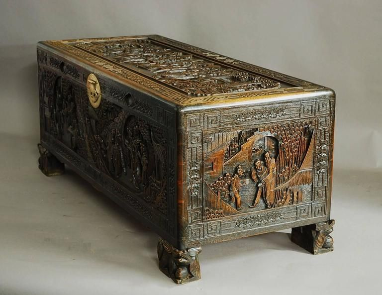 Large Superbly Carved Chinese Camphor Wood Chest For Sale 4 Wood Chest Vintage Blanket Art Furniture
