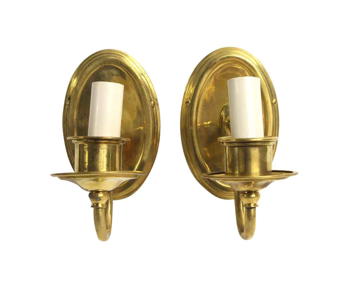 Pair Of Traditional Oval Back Brass Wall Sconces Olde Good Things In 2021 Brass Wall Sconce Sconces Wall Sconces