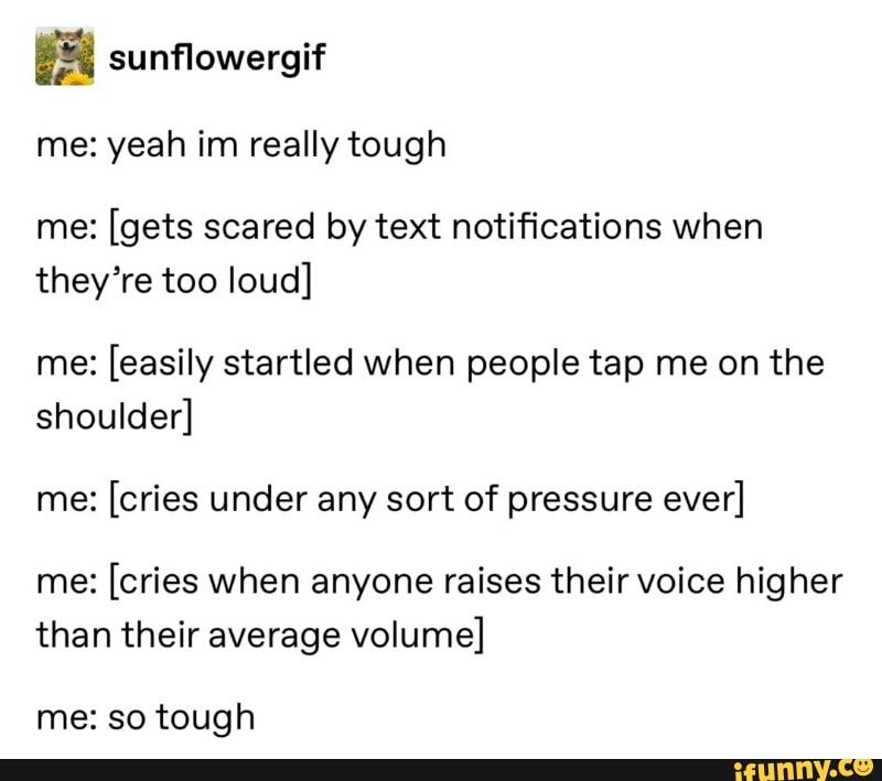 ª sunflowergif me: yeah im really tough me: [gets scared by text notifications when theyre too loud] me: [easily startled when people tap me on the shoulder] me: [cries under any sort of pressure ever] me: [cries when anyone raises theirvoice higher than their average volume] me: so tough – iFunny :)