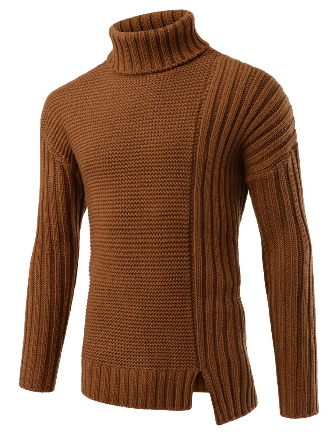 e9fd64b293a2ff Camel Brown Asymmetrical Sli Turtleneck Sweaters