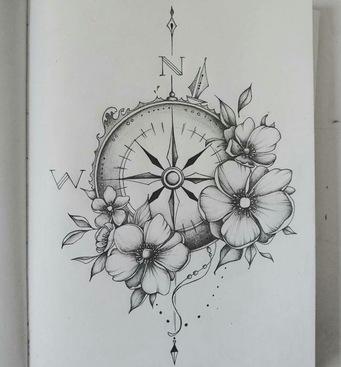 Black White Drawing Compass Rose Tattoo North West Compass Tattoo Sleeve Tattoos Common Tattoos