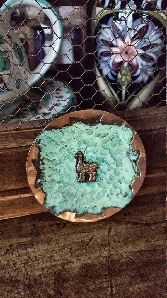 Good Copper Llama Plate~Darling Vintage Llama Wall Plate/Wall Hanging Peru Verdigris  Patina~