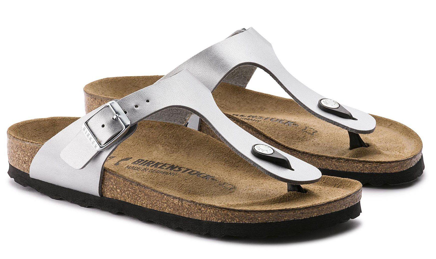 Birkenstock Gizeh 'Cork-Footbed' Silver Birko-Flor Women's Sandals [New Style] (40 M EU / 9-9.5 B(M) US)