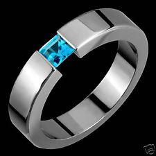 Mens Blue Topaz Tension Set Titanium Engagement Wedding Ring Band For All Sizes