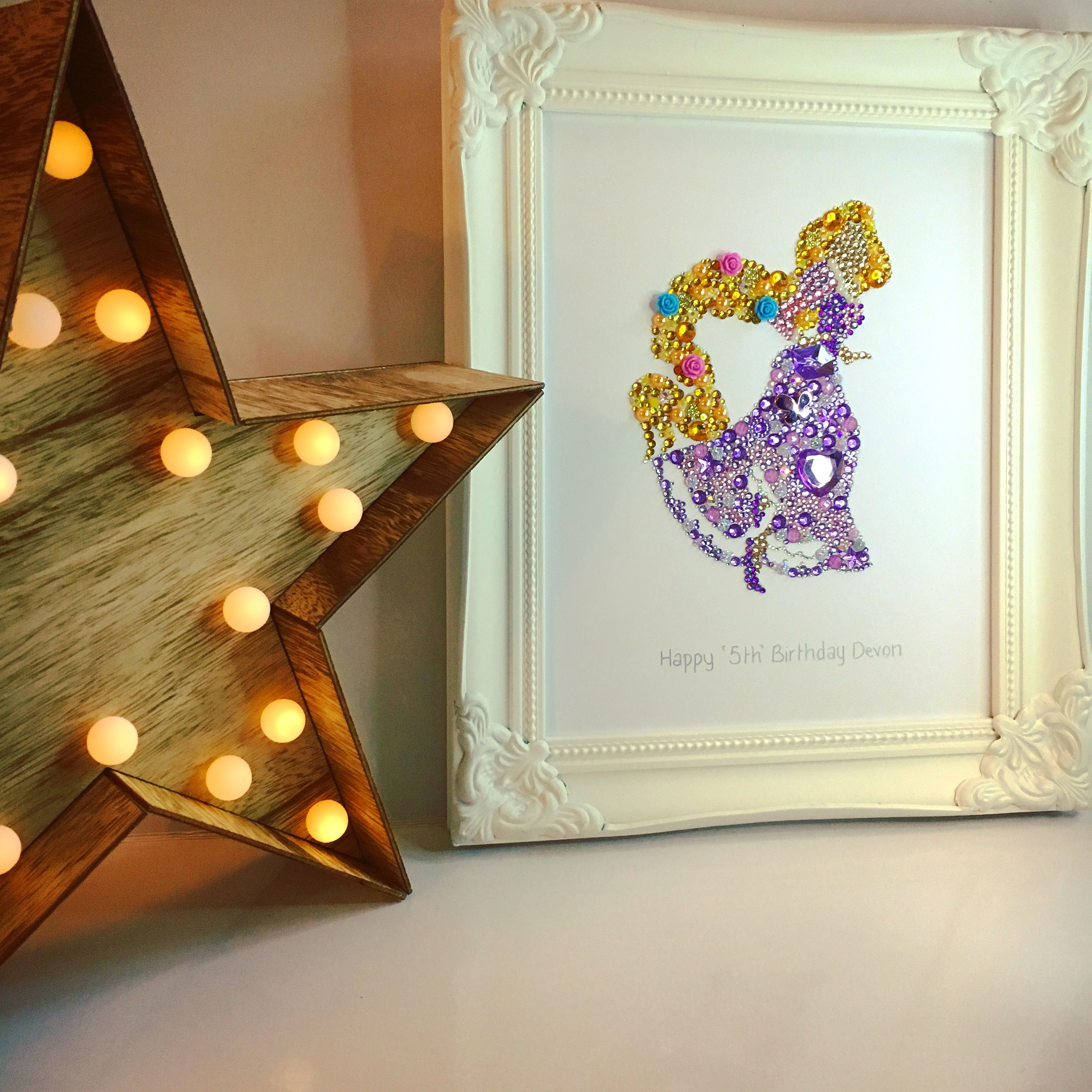 aa6d5c43e9 Tangled rapunzel button art. Button picture. Swarovski crystal picture. Disney  princess Princess gifts