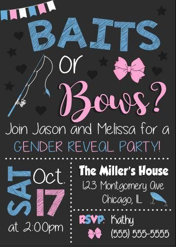 Bait Or Bows Gender Reveal Party Invitation Printable Bow Gender Reveal Gender Reveal Baby Shower Invitations Gender Reveal Invitations