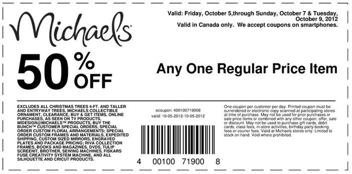 Michaels 50 Off Printable Coupon Michaels Coupon Printable Coupons Michaels Crafts Coupons