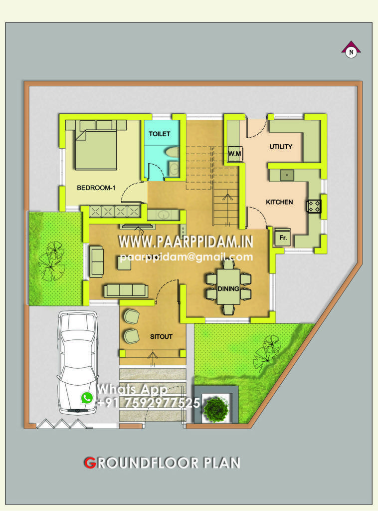 3 Bedroom Contemporary Villa Design Kerala House Plans Thrissur Small Home Plans Kerala Kerala Basement House Plans Kerala House Design Small House Plans