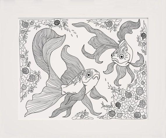 Adult Art Coloring Enchanted Ocean Fish Gift by ColorologyArt