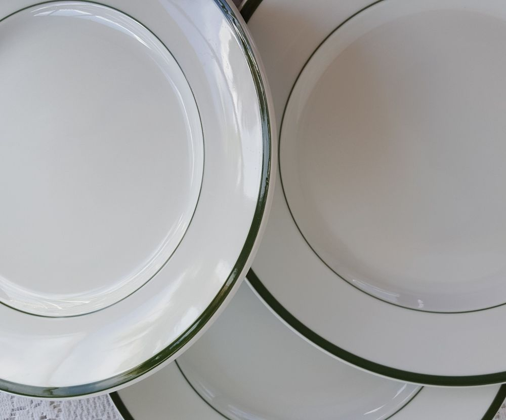 3 Williams Sonoma Brasserie Green Striped Oversize Plates Chargers Chop Dinner #WilliamsSonoma & 3 Williams Sonoma Brasserie Green Striped Oversize Plates Chargers ...