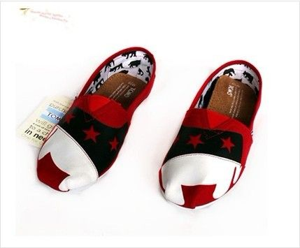 8efba9ede6f Cheap Toms Women Printed Star Red Lovely Shoes Toms One For One