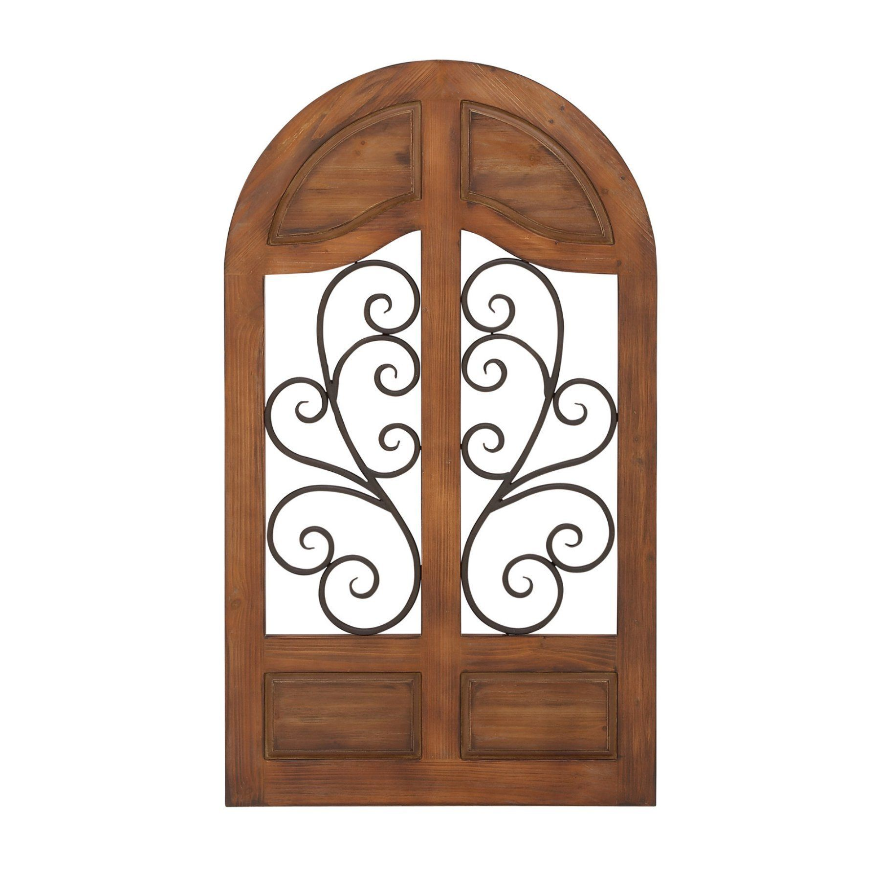 Wood And Metal Wall Plaque Decmode Metal Scrollwork And Arched Wood Wall Plaque  34W X 59H