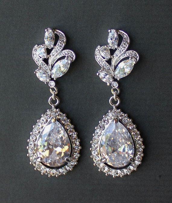 Bridal Chandelier Earrings Crystal Leaf By Jamjewels1 58 00