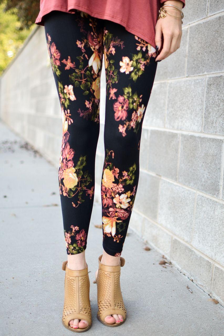 Sophia Black Floral Leggings