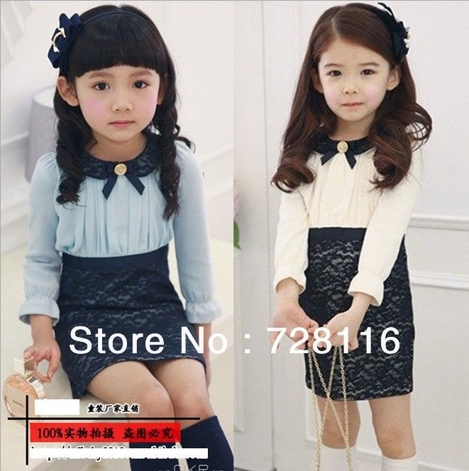Free shipping (5pieces/lot) Children girls lace a-line dresses girls Lace a-line Long sleeve dress Small lapel lace dresses US $45.00