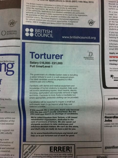 Clever advert in the Guardian Today (via @dlknowles). For all of your advertising needs at unbeatable rates - www.adsdirect.org.uk