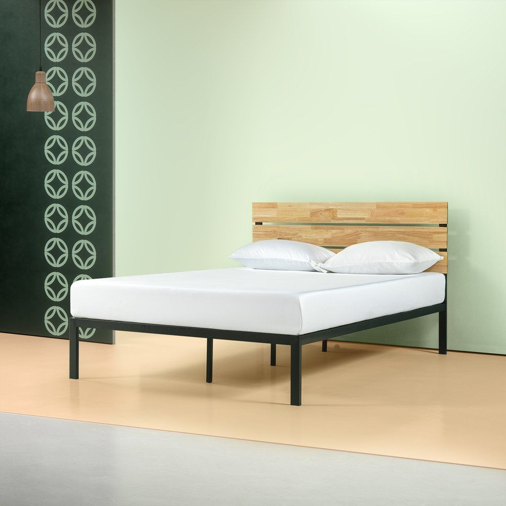 Paul Metal Amp Wood Platform Bed With Wood Slat Support In