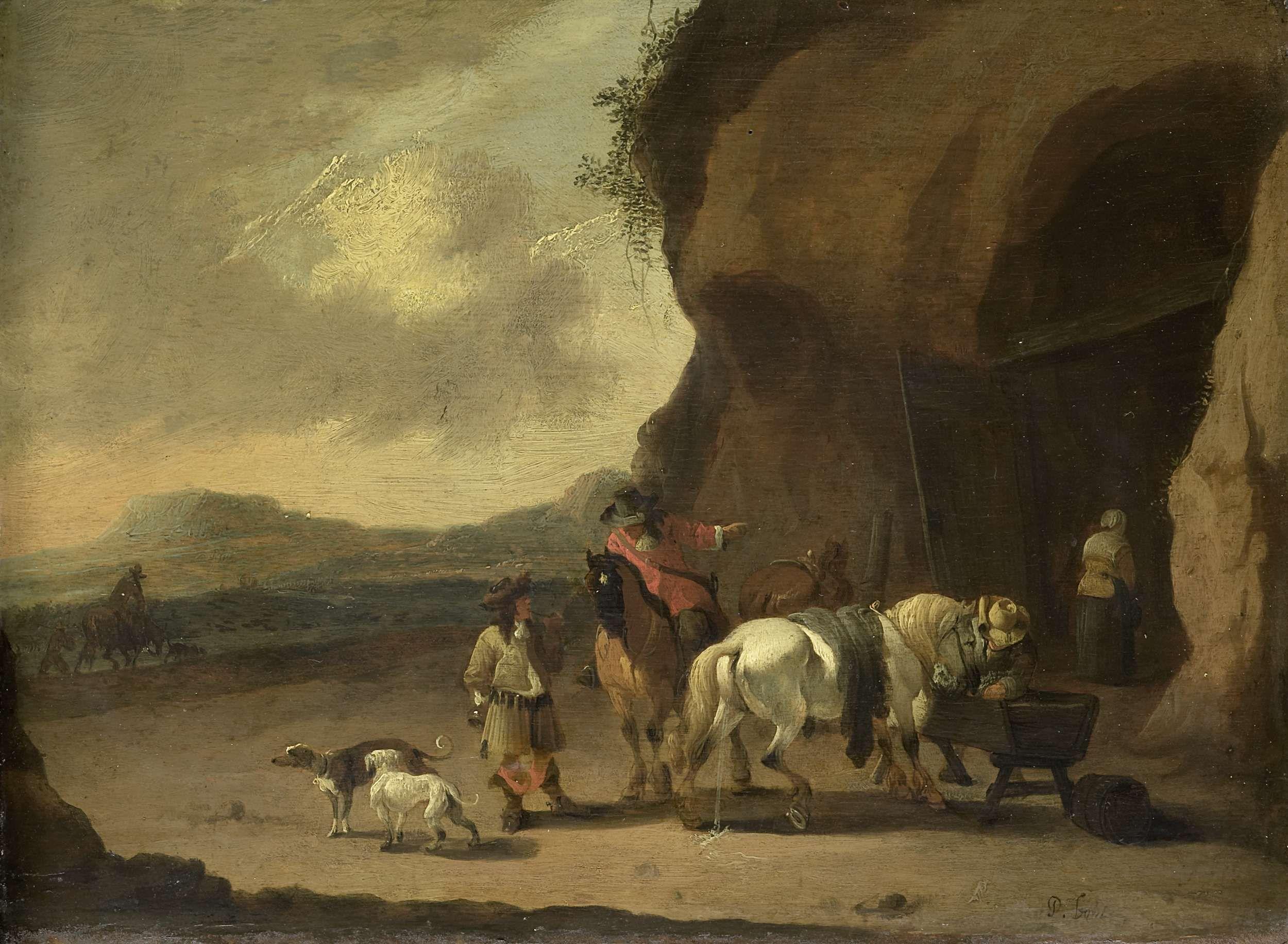 Pieter Bout | The Way Station, Pieter Bout, 1670 - 1719 | Bij een halteplaats, een soort grot in de heuvelwand, kunnen reizigers en paarden rusten. Het pissende paard op de voorgrond wordt gevoerd. Links twee honden