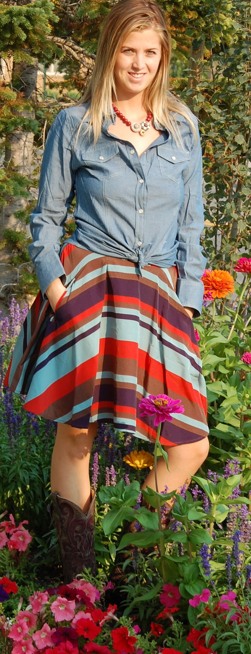 Add denim to anything and it works.  Love this shirt with a fun skirt