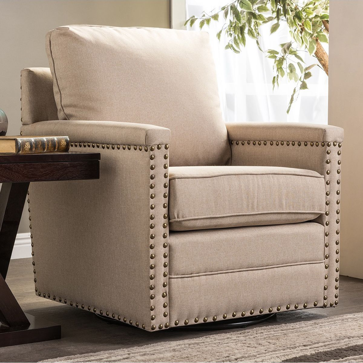 Madrid Taupe Beige Ultra Modern Living Room Furniture 3: The Ashley Beige Fabric Upholstered Armchair Is The
