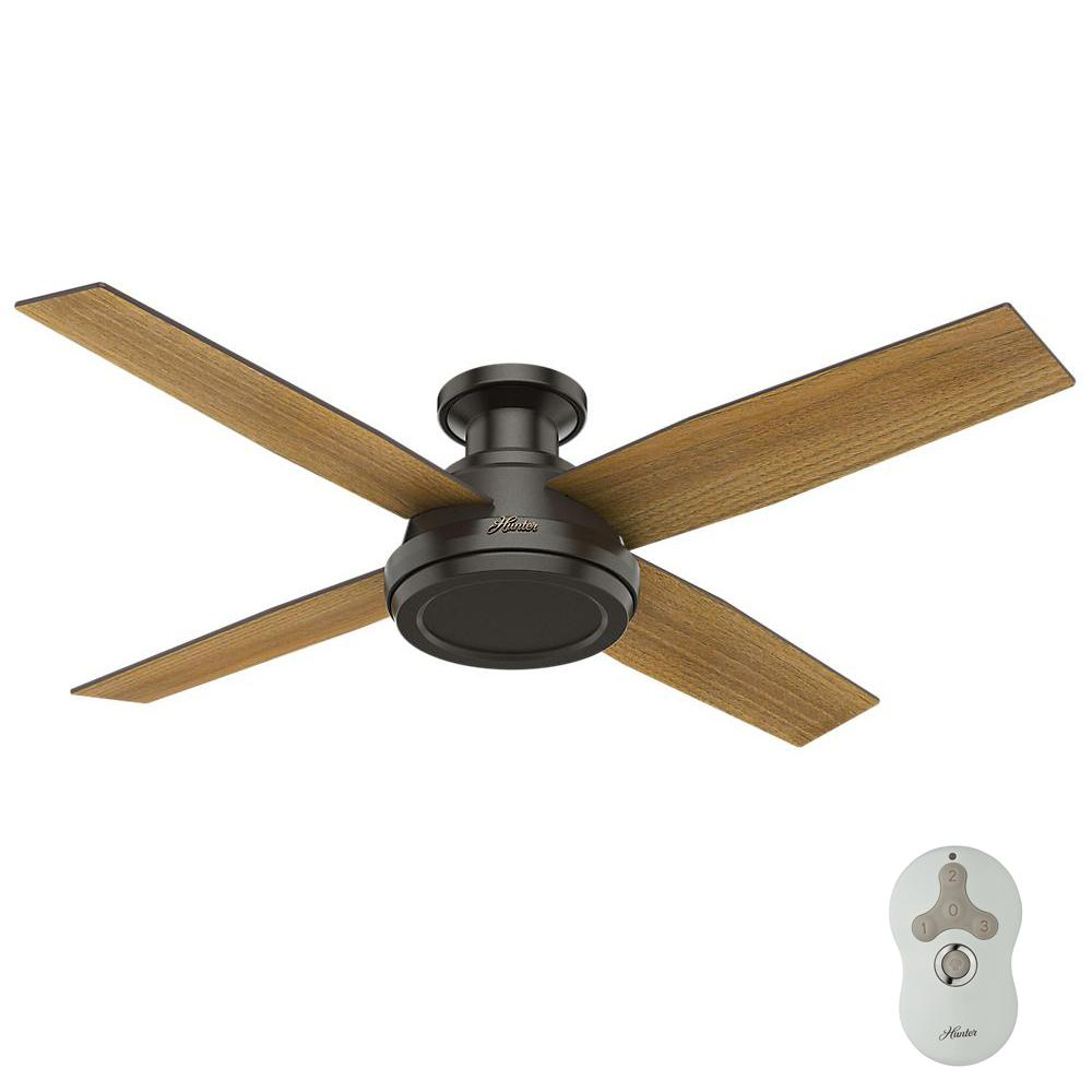Hunter Dempsey 52 In Low Profile No Light Indoor Brushed Nickel Ceiling Fan With Remote Control Ceiling Fan Ceiling Fans Without Lights Bronze Ceiling Fan