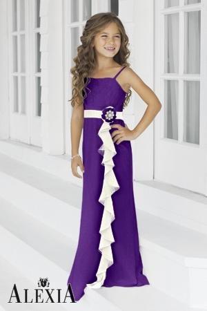 5e9b959d7cd6 Charmeuse Ruffles,Straps Style 46 Junior Bridesmaid Dress by Alexia Designs