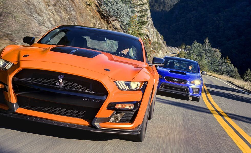 Unexpected Rivals 2020 Ford Mustang Shelby Gt500 Vs 2019 Subaru Sti S209 Road And Track In 2020 Mustang Shelby Ford Mustang Shelby Gt500 Shelby Gt500