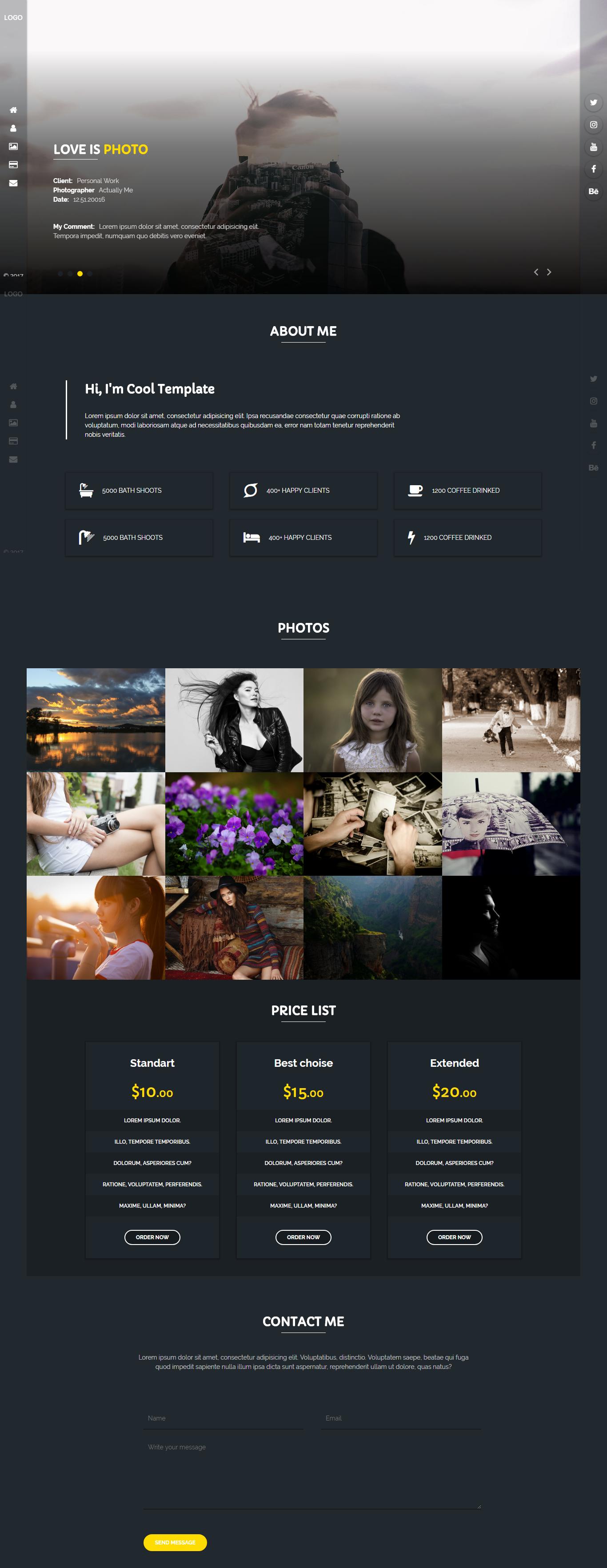 Rejento Photographer - Personal & Portfolio One Page HTML Web