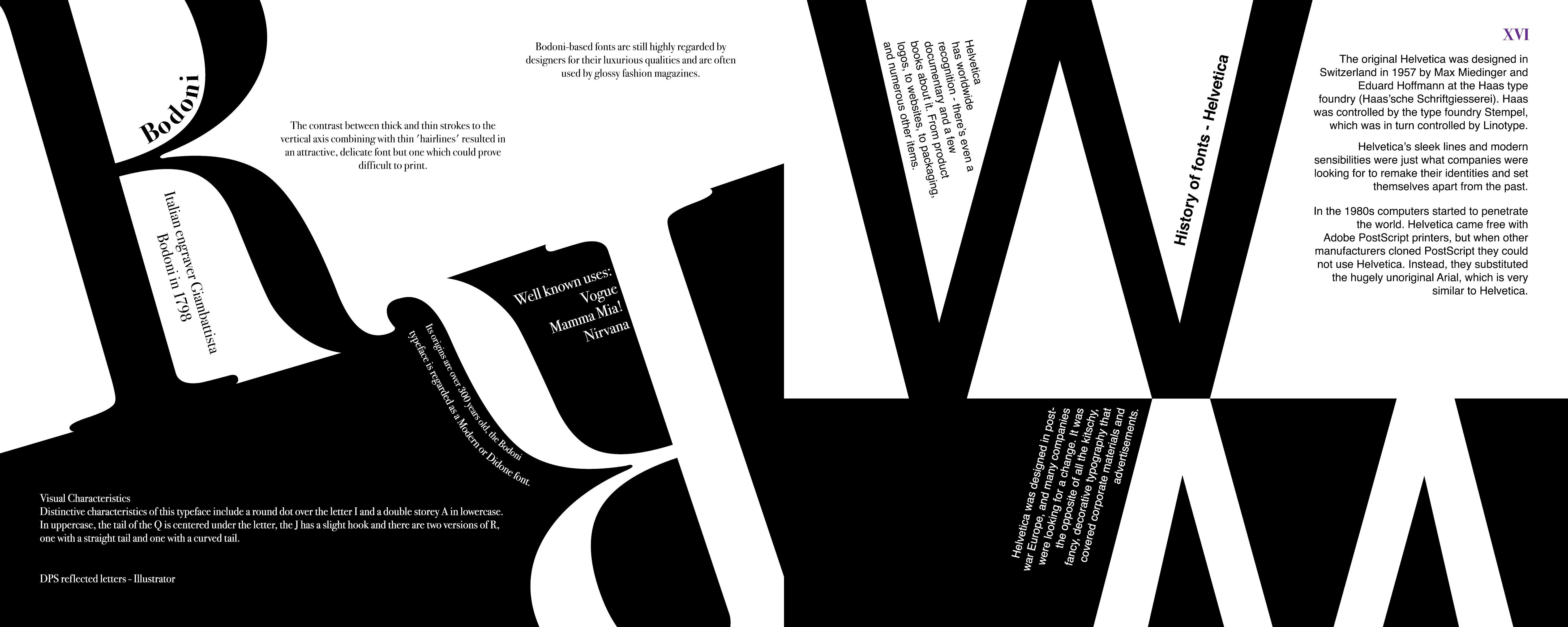 Bodoni & Helvetica - font histories   Curative brand moodboard