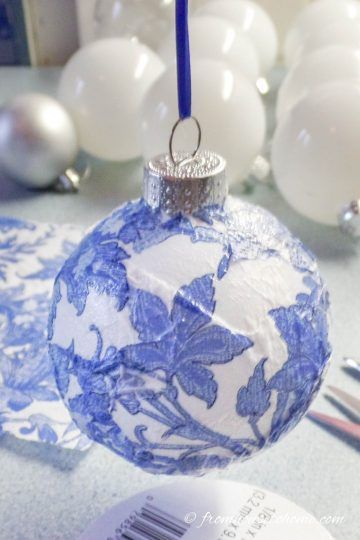 How to Make Budget Friendly Chinoiserie Christmas Ornaments | Christmas ornaments, Blue ...