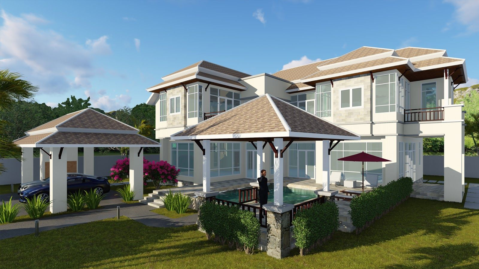 Villa Design 4 Bedroom House Size 15,7x16,2m Sketchup Lumion Autocad