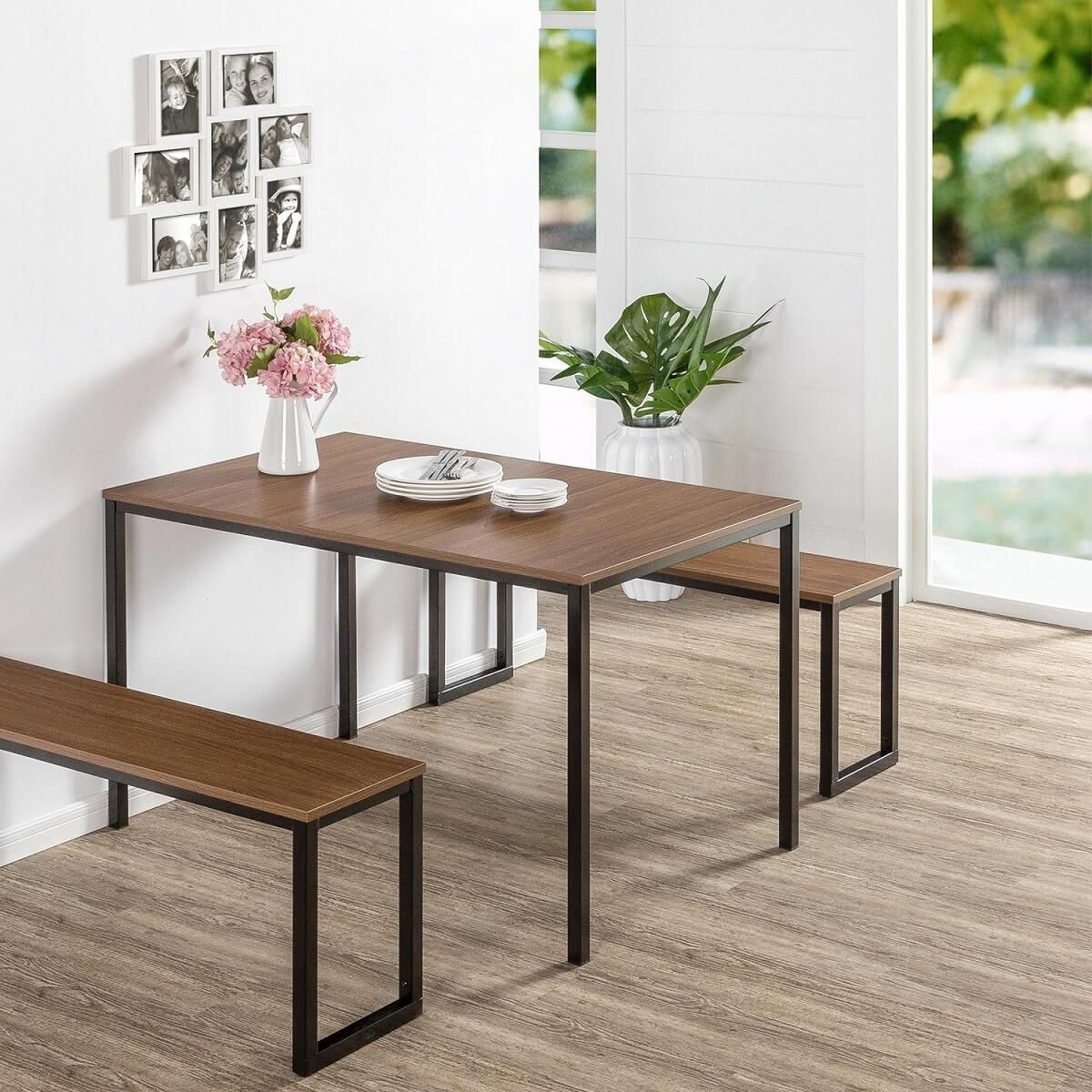 Small Table With Hideaway Benches Modern Dining Room Set Dining