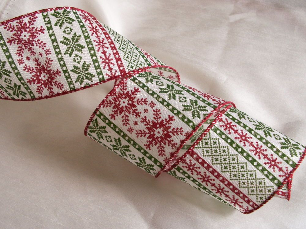 "5 Yards Christmas Red White Snowflake Wired Ribbon 1 1//2/""W"