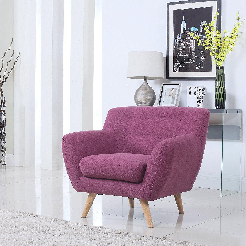 Amazon.com: Mid Century Purple Modern Living Room Accent Armchair ...
