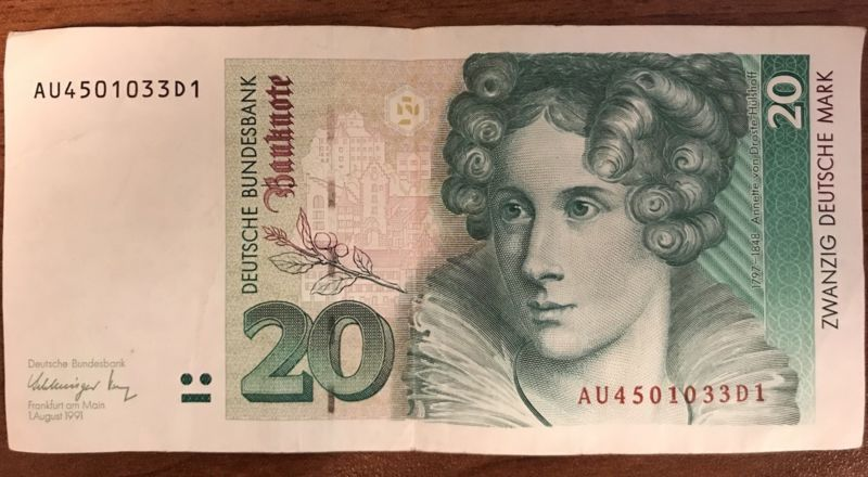 Banknote Germany 20 Mark 1991 Brd Series Au4501033D1 Pre