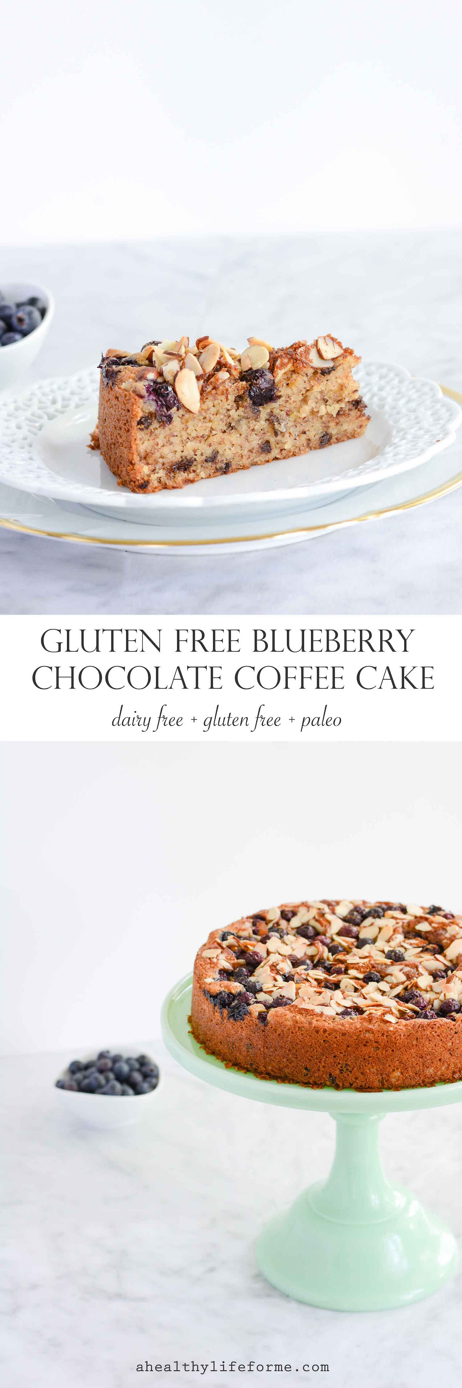 Gluten Free Blueberry Chocolate Cake is a moist delicious cake that is gluten free, dairy free and paleo. - A Healthy Life For Me