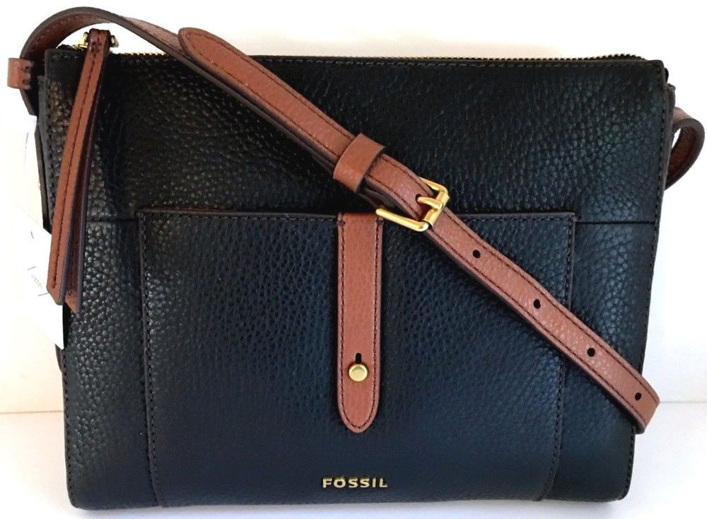 NEW FOSSIL Gemma Crossbody Black with Brown Trim Genuine Leather Bag 8 x 10  x 2  Fossil  Crossbody 3ceb19b3a6f37