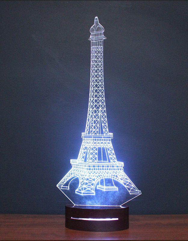 3d Illusion Night Eiffel Tower Lamp Eiffel Tower Lamp 3d Illusions Eiffel Tower