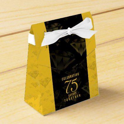 Elegant 75th Diamond Wedding Anniversary Favor Box Favors Gold Weddings And