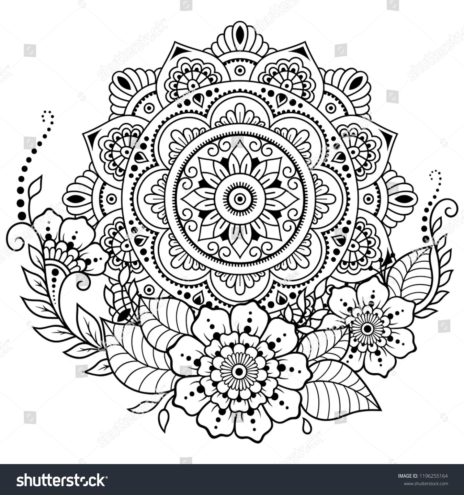 7facfe1bb Circular pattern in form of mandala with flower for Henna, Mehndi, tattoo,  decoration. Decorative ornament in ethnic oriental style. Coloring book  page.